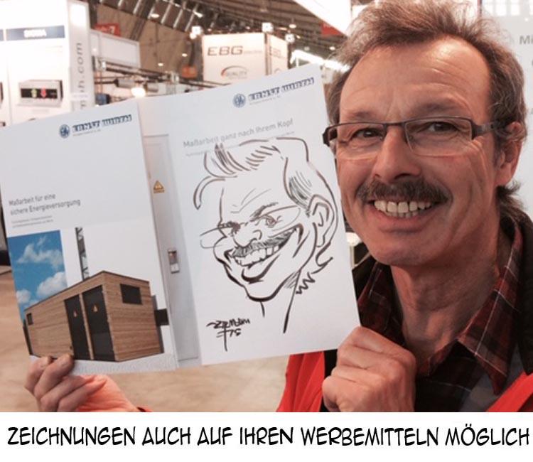 schnellzeichner Karikatur auf Prospekt